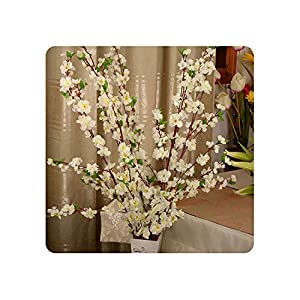Geminilee Artificial Cherry Spring Plum Peach Blossom Branch Silk Flower Home Wedding Decorative Flowers Plastic Peach Bouquet 65cm,White 1