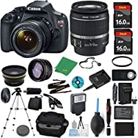 Canon Rebel T5 Camera + 18-55mm IS + 2pcs ZeeTech 16GB Memory + Case + Reader + Tripod + Starter Set + Wide Angle + Telephoto + Flash + Battery + Charger + Filter - International Version