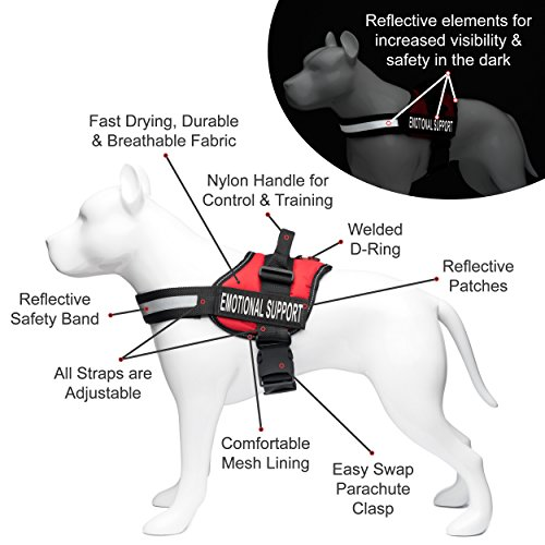 Service Dog Vest Harness with EMOTIONAL SUPPORT Patches and Matching Leash, Emotional Support Animal Vest and Matching Leash Set (Medium, Red) by Industrial Puppy (Image #4)