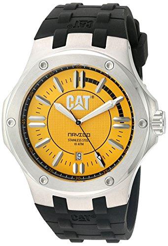 CAT WATCHES Men's 'Navigo' Quartz Stainless Steel and Rubber Watch, Color:Black (Model: A114121727) ()