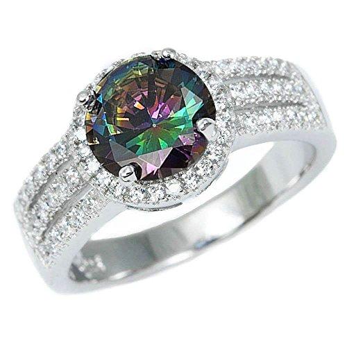 .925 Sterling Silver 3.50ct Halo Style Rainbow Colored CZ & Cz Ring Sizes 5-10 (10)