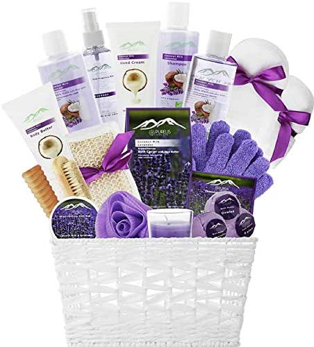 Spa Gift Baskets Beauty Gift Basket - Spa Basket, Spa Kit Bed and Bath Body Works Gift Baskets for Women! Bath Gift Set Bubble Bath Basket Body Lotion Gift Set for Holidays (Lavender Coconut Milk)