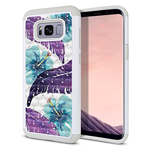 Tropical Flower Rhinestone - FINCIBO Galaxy S8+ Plus Case, Dual Layer Shock Proof Hybrid Hard Protector Cover Anti-Drop TPU Rhinestone For Samsung Galaxy S8+ Plus G955 6.2 inch - Purple Tropical Leaf Flowers