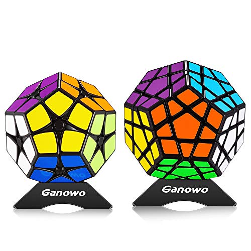 Ganowo Infinity Cube Fidget Toy for Kids and Adults, Fidget Cube Cool Mini Magic Cube Gadget Spinner for Stress and Anxiety Relief and Kill Time (Megaminx-Black 2pack)