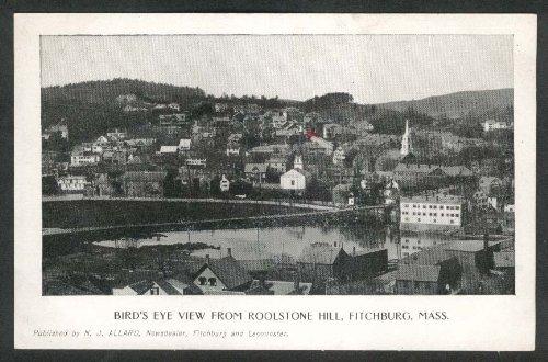 Rollstone Hill (Bird's Eye View Rollstone Hill Fitchburg MA undivided back postcard 1900s)