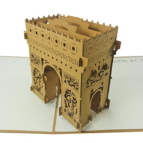 Arc De Triomphe - WOW 3D Pop Up Greeting Card for All Occasions - Birthday, Congratulations, Good Luck, Anniversary, Get Well, Army, Love, Travel
