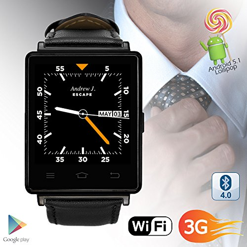 Indigi Swatch-D6-07 NEW 2017 3G Android 5.1 Smart Watch Phone (GSM Factory Unlocked) Maps + Wi-Fi + GPS + Google Play Store