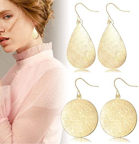 JOERICA 2 Pairs Dangle Earrings for Women Girls Fishhook Teardrop Disc Drop Earrings Brushed Gold Silver Rose-gold Round Earrings Set - Brushed Silver Disc