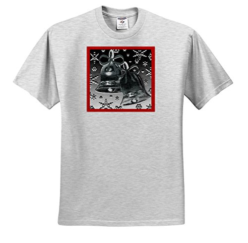 Dawn Gagnon Photography and Designs-Holidays - Silver Bell Design With Red Border and Snowflakes - T-Shirts - Adult Birch-Gray-T-Shirt 3XL (Red Dawn Border)