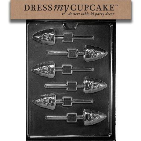Dress My Cupcake DMCH163 Chocolate Candy Mold, Candy Corn Lollipop, Halloween ()