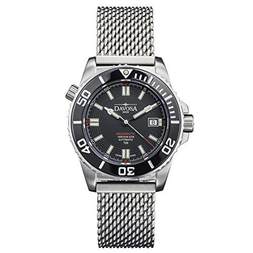 Davosa Swiss Argonautic Lumis 16152010 Men Wrist Watch Steel Band Black Face