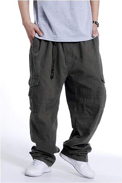 Pantaloni Hip Hop da Uomo Pantaloni Festivo Cargo Abbigliamento Stile Hipster Baggy Rap Gamba Dritta Allentata Moda Uomo