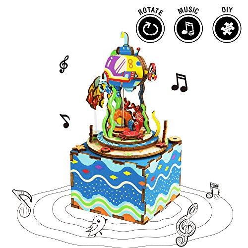 06 Crank (Rolife Wooden Hand Crank Music Box Machinarium -Diy Wood Craft Kit-3d Wooden Puzzle-Creative Gift For Christmas/Birthday/Valentine'S Day (Under The Sea))