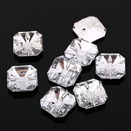 CraftbuddyUS AB4 20 pcs 17mm Sew On Diamante Square Acrylic Crystal Rhinetone Buttons ()