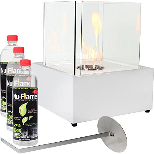 Sunnydaze White Large Cubic Ventless Tabletop Bio Ethanol Fireplace with Fuel (Personal Fireplace Gel)