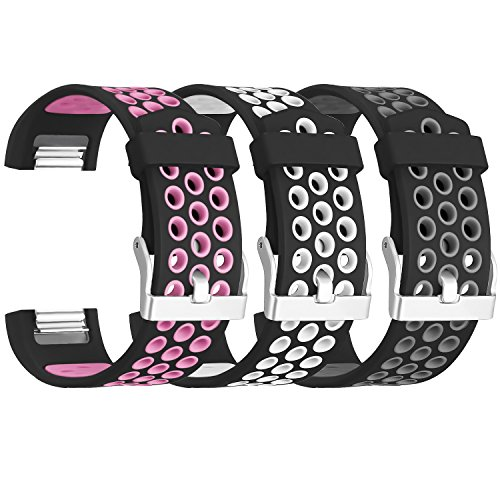 SKYLET for Fitbit Charge 2 Bands, 3 Pack Breathable Silicone Replacement Bands for Fitbit Charge 2 with Secure Watch Clasp (No Tracker)[Small, 3PC: Black-Pink&Black-White&Black-Grey]
