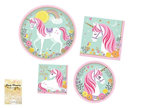 Unicorn Party Supplies, Birthday, Magical Design, 16 Guests, Includes Dinner Plates, Dessert Plates and Napkins (Magical Tea)