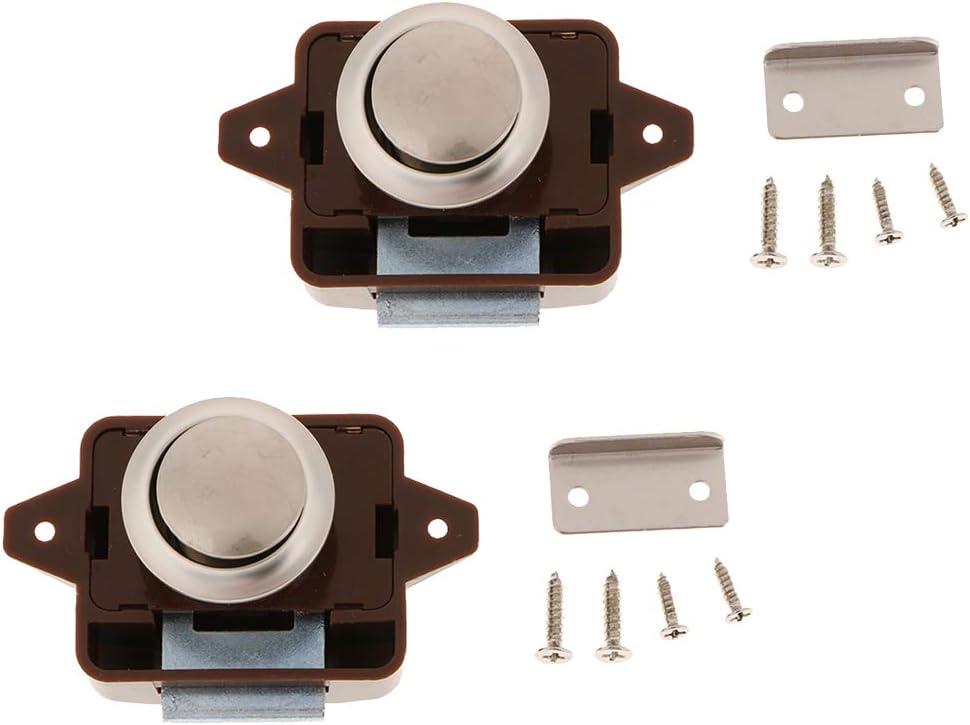 Alliage de Zinc B Baosity 2 Pi/èces Bouton Poussoir en Alliage De Zinc pour Placard Caravane RV tiroirs Portes Chrome