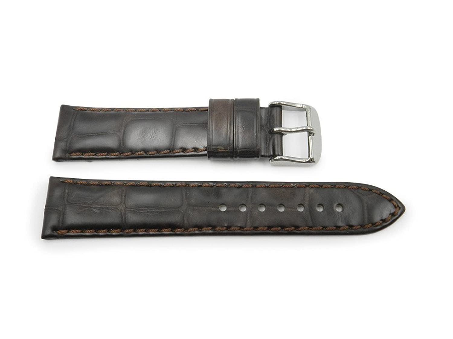 18 mm Brown Genuine Leather With Embossed Alligator Grain時計ストラップHand Made In Italy  B06WP3H1MX