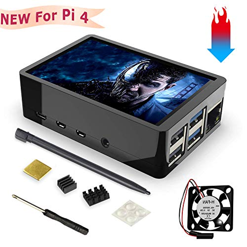for Raspberry Pi 4 Case 3.5 inch Touch Screen with Built-in Fan and Cooling Heatsink, 320x480 Pixel TFT LCD Monitor Game Display (Black)