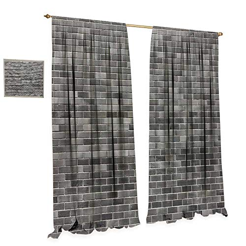 (cobeDecor Grey and White Thermal Insulating Blackout Curtain Modern Brick Wall Tiles Urban Construction Architecture Building Town Art Picture Patterned Drape for Glass Door W96 x L108 Grey)