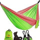 OLIDEAR Portable Parachute Nylon Hammocks Ultralight Camping Hammock Garden Hammock for Backpacking Travel Beach Yard (Red & Green, 55'' W x 105'' L) …