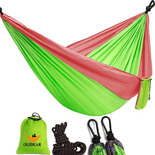 OLIDEAR Portable Parachute Nylon Hammocks Ultralight Camping Hammock Garden Hammock for Backpacking Travel Beach Yard (Red & Green, 55'' W x 105'' L) … by OLIDEAR