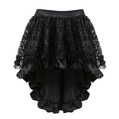 frawirshau Women's Steampunk Lace Black Skirts Vintage Satin High Low Corset Skirt