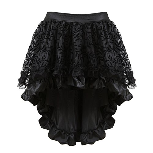 - Steampunk Skirt for Women Lace Asymmetrical Layered High Low Corset Skirt Party Outfits Black Skirt