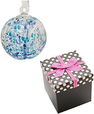 Amistad bola – transparente, Azul y blanco color cristal con cinta de organza y diseño de lunares caja de regalo: Amazon.es: Hogar
