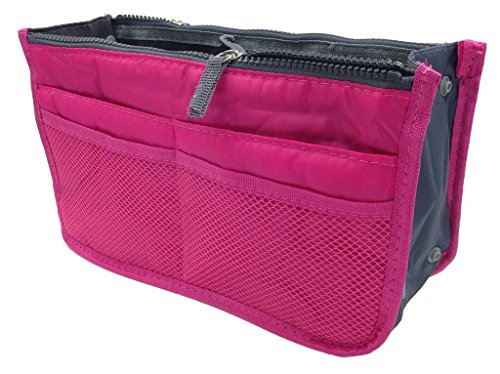 Sizzle City Nylon Bag in Bag Insert, Cosmetic Handbag, Gadget Purse, Travel, Organizer (Hot Pink)