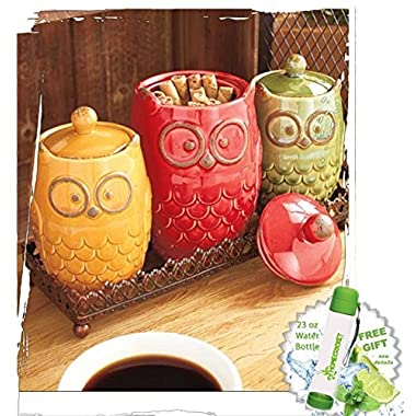 Gift Included- Decorative Kitchen Decor Food Storage Organization Owl Countertop 4-Pc. Canisters and Tray Set and FREE Bonus 23 oz Water Bottle byHomecricket