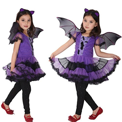 Keepfit Toddler Kids Baby Girl Halloween Costume Cosplay Dress, Hair Hoop and Bat Wing Outfit Clothes (4T-5T, Purple) -