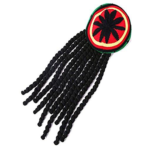 HairPhocas Jamaican Rasta Hat with Dreadlocks Black Beanie