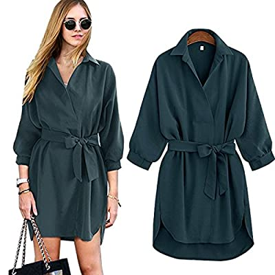 Womens Casual V Neck High-Low hem 3/4 Batwing Sleeve Button Down Boyfriend Elegant Shirt Dress with Belt - VENAS