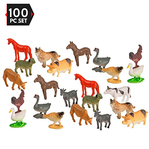 Farm Animal Figure (100 Piece Party Pack Mini Farm Animals - Plastic Mini Educational Animal Toys - Fun Gift Party Giveaway)