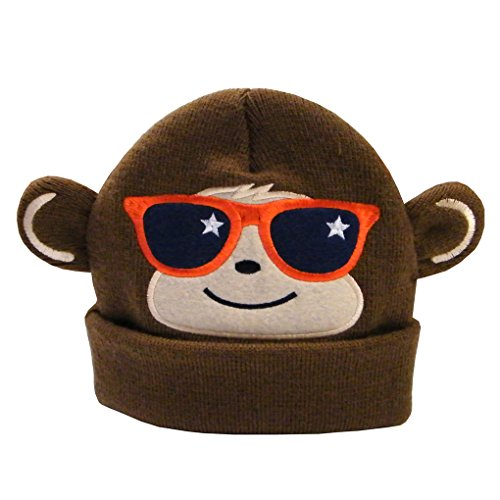 Feelingwear Toddler Boys Winter Knitted Cartoon Monkey Beanies Hat Sleep Caps with Two Ears Coffee Size M