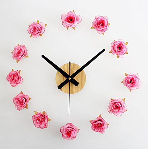 Jedfild The beautiful countryside of the DIY wall clock time clock has a living room style creative quartz clock, light pink peach red