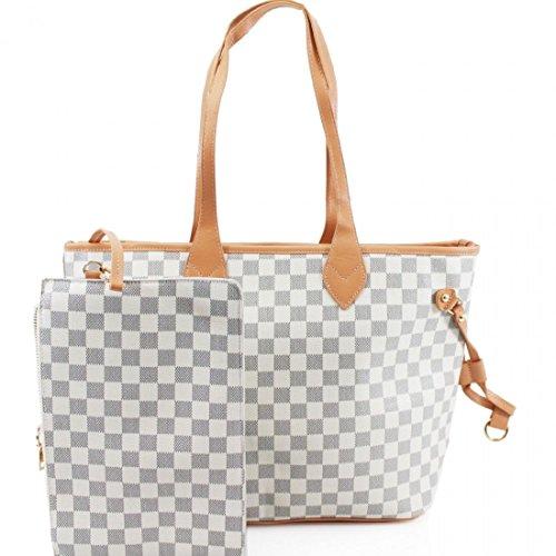 1510ac304dc Gossip Girl - Designer Inspired 2-in-1 Check Handbag Shoulder Bag With Purse  + Lip Balm   Mini Emery Board Set