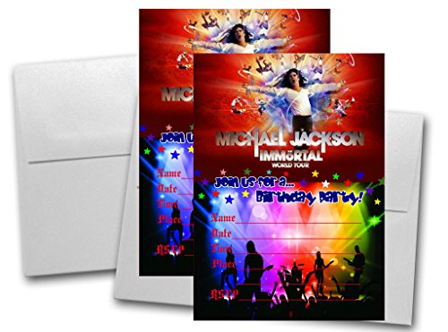 12 Michael Jackson Anniversary Birthday Invitation Cards (12 White Envelops Included) #2