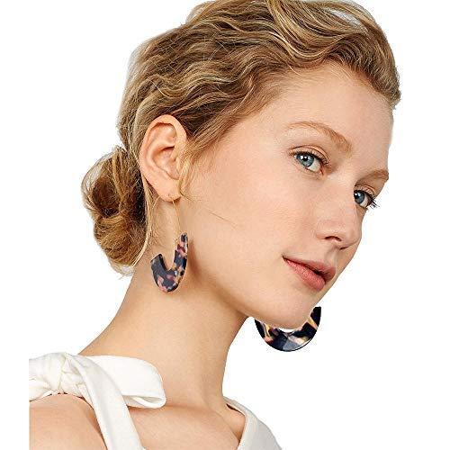 Bonallo Tortoise Hoop Earrings for Women Dangling Acrylic Resin Earrings Fashion Statement Earrings for Girls (Purple) ()