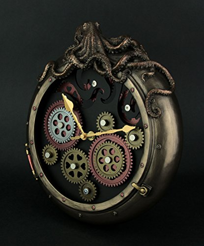 Veronese Design Steampunk Bronze Finish Octopus Porthole Wall Clock with Moving Gears 4