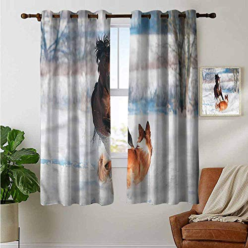 petpany backout Curtains for Bedroom Horse,Welsh Pony and Border Collie,Pocket Thermal Insulated Tie Up Curtain 42