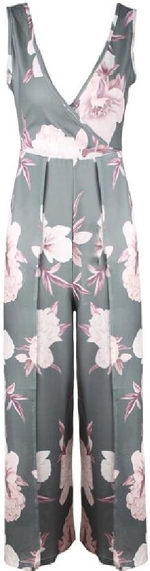 HTOOHTOOH Womens Floral V-Neck Sleeveless Backless High Slit Jumpsuit