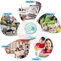 Baby Stroller Clip Fan——Megoal Small Portable USB Personal Fan Rechargeable Battery Operated for Camping Office Desk Travel(Green,6 inch)