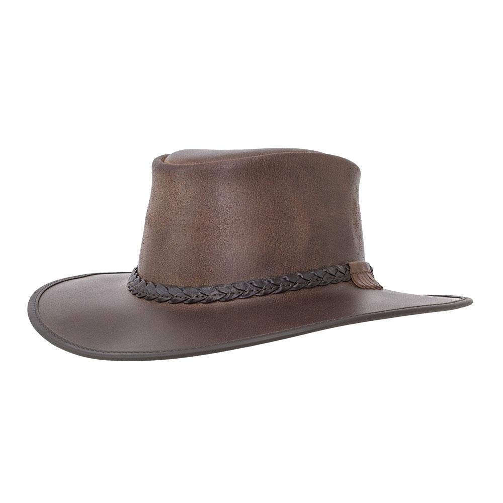 American Hat Makers Bravo-Braided Band by American Outback Rugged Leather Hat, Chestnut - X-Large