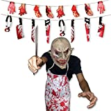 Gvirtue Creepy Scary Halloween Cosplay Costume Mask for Adults Party Favors or Haunted House Decoration Props, Bloody Weapons Garland Props for Halloween Decorations, 4 pcs Sets (Horror Mask)