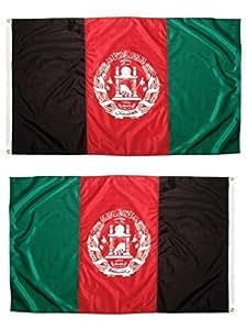 MWS 2x 3Afganistán afgano Afghani 2Faced 2capas Super poliéster nylon bandera 2x 3m (60x 90cm) casa Banner ojales doble costura resistente a la decoloración Premium calidad