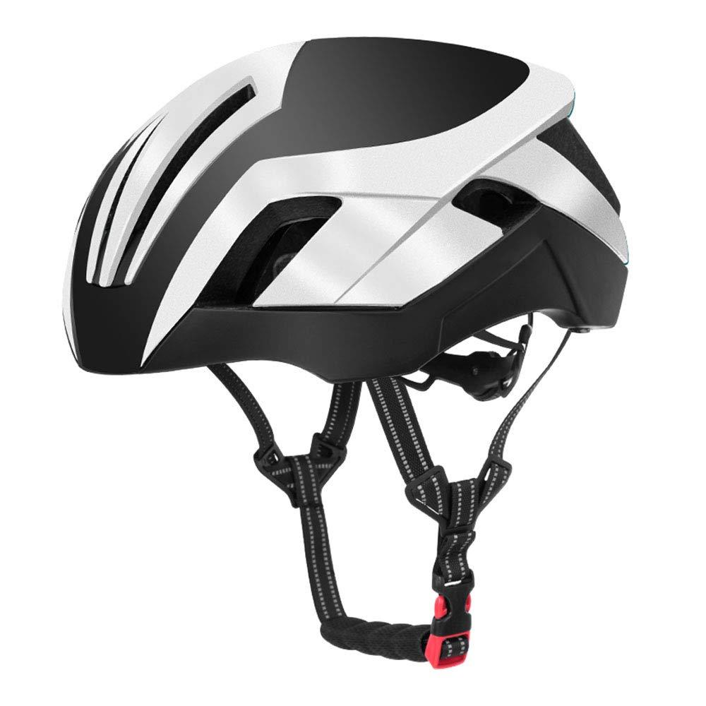 男性と女性のための自転車用ヘルメット調節可能な取り外し可能なゴーグル安全通気性キャップ  white B07P2GPH1K