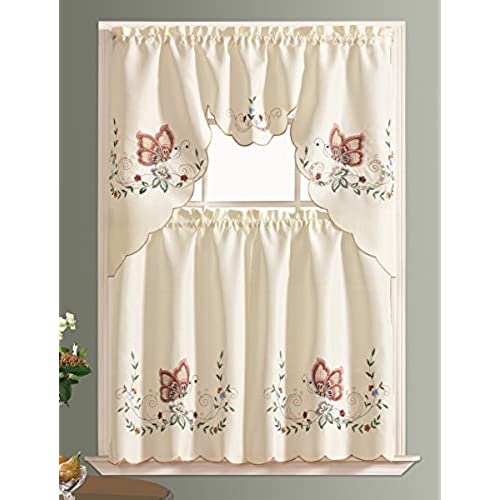 3pcs Multi Color Embroidery Kitchen Curtain/ Cafe Curtain / Swag U0026 Tiers  Set With Cutworks. (BURGUNDY)